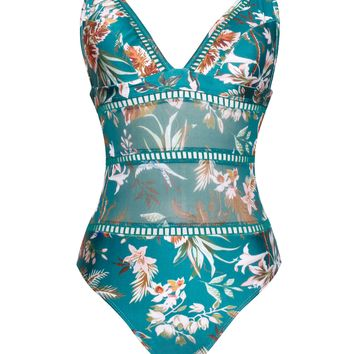 Kyoto Olive Floral Print Detail Trim One Piece Swimsuit