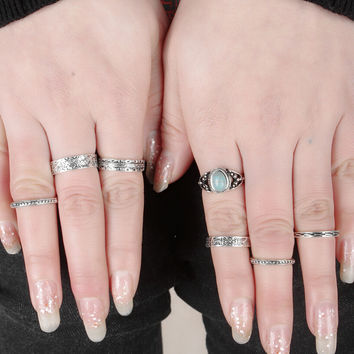 Vintage Retro Ethnic Style Old Silver Ring 7 Pcs Gift-176
