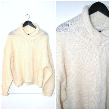 cream WOOL relaxed fit sweater / vintage 1980s FUZZY knit MINIMALIST oversized off white fisherman jumper os