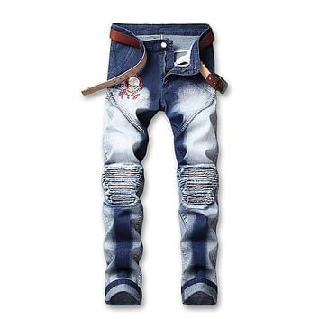 Men's Retro Skull Embroidery Jeans Skinny Patchwork