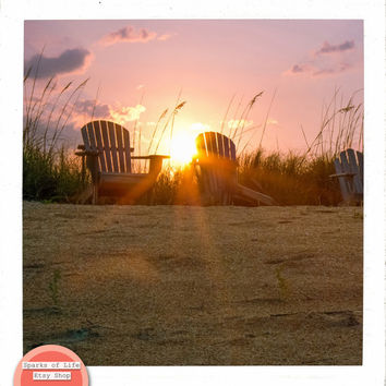 Wall art printable, square digital download, beach print, Florida, summer, fine art photography, two chairs at sunset, beach grass, sand
