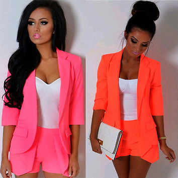 retail 2016 Spring Autumn Womens Ladies Candy Color Stylish Casual Slim Suit Jacket Blazer Top Outwear women clothing