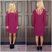 Good Catch Shift Dress- WINE