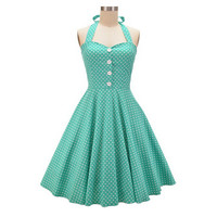2015 Womens Halter Backless Polka Dots 1940s 50s 60s Vintage Retro Style Rockabilly Pin up Swing Summer Casual Party Dresses