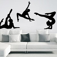 Gymnasts Wall Decal Sports Athletes Girl Sport Gymnastics Wall Decals Vinyl Stickers Teens Nursery Baby Room Home Decor Art Bedroom Design Interior C279