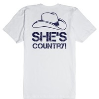 She's Country-Unisex White T-Shirt
