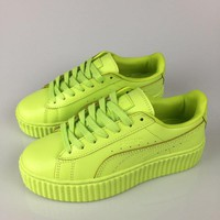 Fenty Rihanna by Puma Creepers Apple Green Leather Women's Shoes