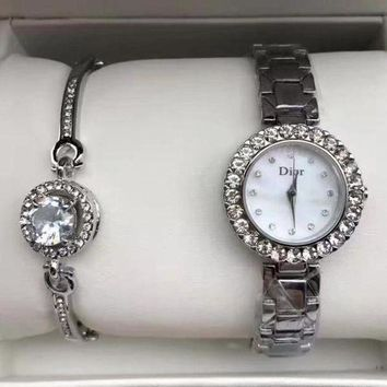 DCCKNQ2 Dior Women Fashion Trend Quartz Movement Diamonds Wristwatch Watch Set Two-Piece-2