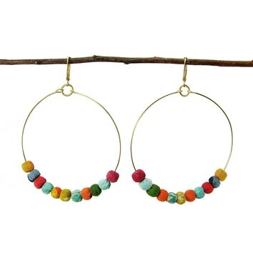 Kantha Beaded Hoop Earrings