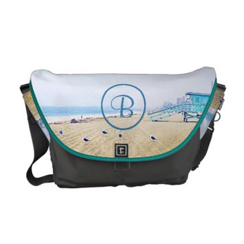 Aqua sky beach photo custom monogram messenger bag