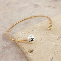 Initial on Pearl Open Cuff Bangle Bracelet