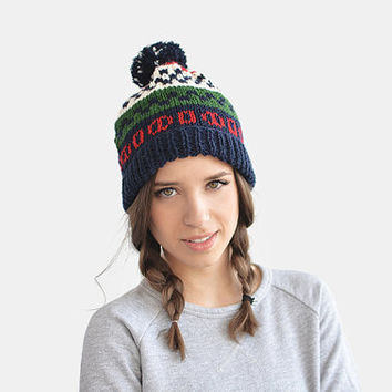 Fair isle ski beanie hat with pom pon / Hand Knitted