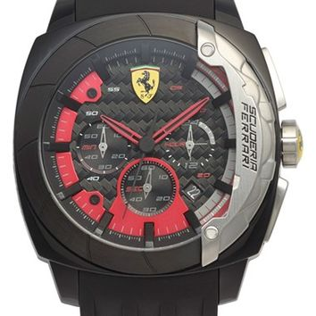Men's Scuderia Ferrari 'Aerodinamico' Chronograph Silicone Strap Watch, 46mm - Black/