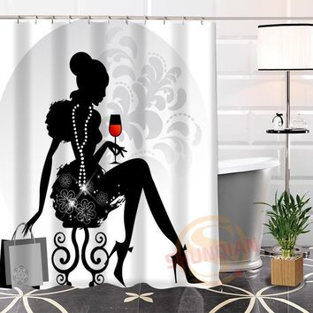 Hot New Eco-friendly Custom Unique Cartoon beautiful lady Modern Shower Curtain bathroom Waterproof for yourself H0220-84