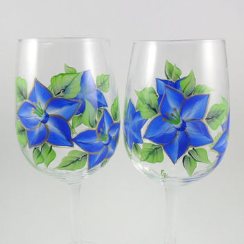Hand Painted Wine Glasses Cobalt Blue Star Flower Set of 2