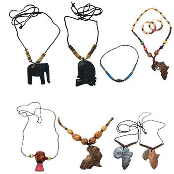 SALE Mix of 2 Pcs Necklaces for Men Women Wooden and Beaded Ethnic Tribal African Bracelets
