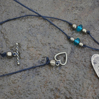 Me & You Love Necklace - Custom made hand stamped heart with a message and whimsical design heart necklacke.