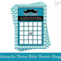 Mustache Baby Bingo Printable, Mustache Baby Shower printable, Baby Shower Bingo, Mustache Party Printable, Mustache baby shower game