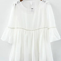 Ruffle Sleeve Sheer Chiffon White Top
