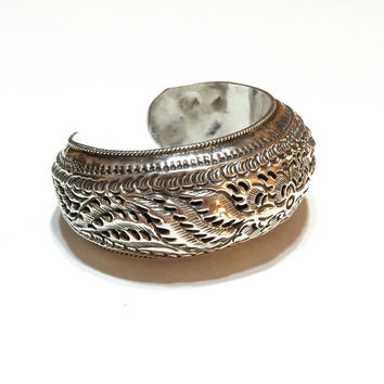 Ten% Discount Art Deco Bracelet, Sterling Silver Cuff Bracelet, Chinese Repousse Cuff,  Antique Jewelry, Vintage Jewelry