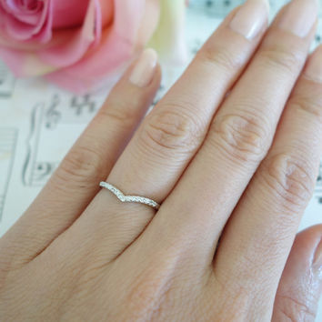 1/10 Carat Chevron Ring, 15 Stone Wedding Band, Stacking, Engagement Ring, Man Made Diamond Simulants, Bridal, Promise Ring, Sterling Silver