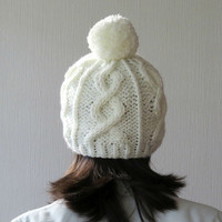 Pom Pom Beanie, Chunky Hat, Cable Knit Hat, Off White Knitted Hat, Women Hat, Ecru Beanie, Winter Hat, Fall Fashion, Teens Hat, Gift for her