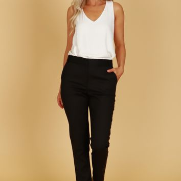 High Rise Straight Leg Trousers Black