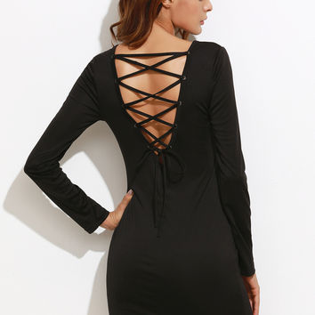 Black Lace Up V Back Bodycon Dress | MakeMeChic.COM