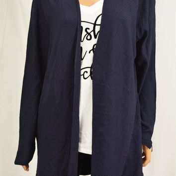 Charter Club Women Blue Open Front Ribbed Duster Cardigan X-Large XL