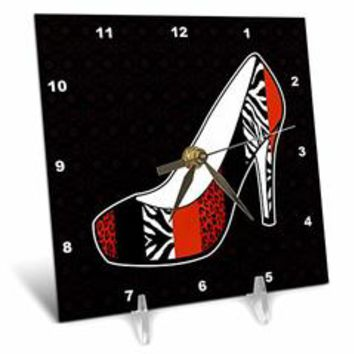 3dRose dc_57145_1 I Love Shoes Animal Print High Heel Shoe Red Cheetah and Zebra Desk Clock, 6 by 6-Inch - Sears