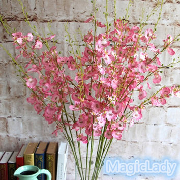 New Fashion Creative 1 Bouquet Artificial Orchid Silk Flower Leaf Home Wedding Garden Decor Gifts = 1932827780