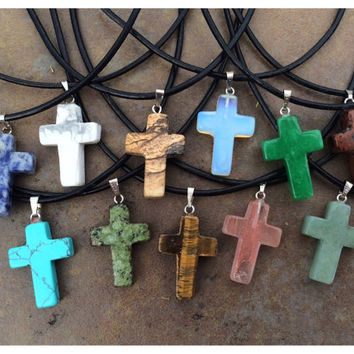 Gemstone Cross Necklace