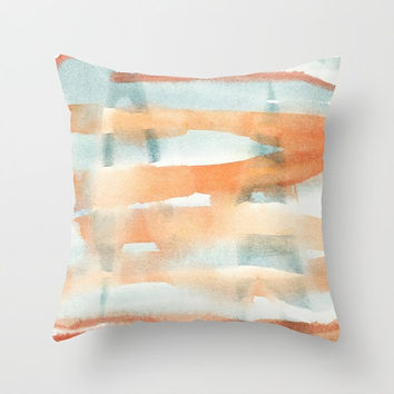 Cushion cover with fine art print. Burnt orange, pastel blue Throw pillow cover Accent pillow pastel pillow Abstract landscape Distant Peaks