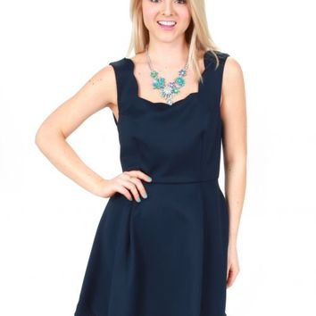 Off To The Races Navy Scalloped Dress | Monday Dress Boutique