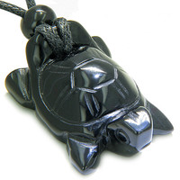 Amulet Lucky Charm Turtle Black Agate Gemstone Healing Powers Pendant Necklace