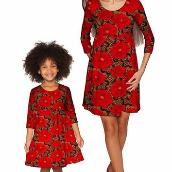 Hot Tango Gloria Fit & Flare Red Lace Print Dress