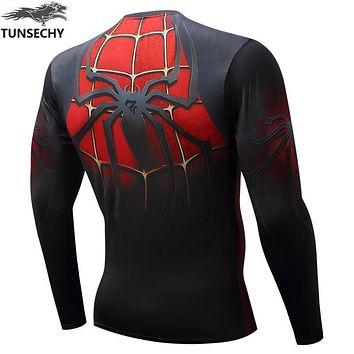 TUNSECHY 2017 fashion movement spider man long sleeve compression tights miracle quick-drying fitness 3D hero superman T-shirt