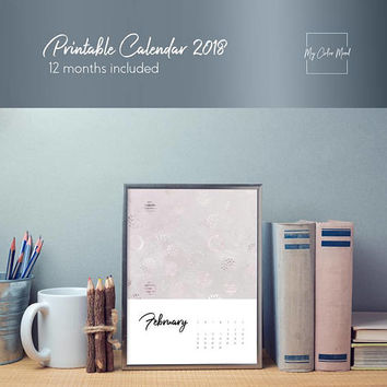 Calendar download, Funny calendar, Office calendar 2018 monthly calendar printable pages, Poster calendar, Pink modern abstract art calendar