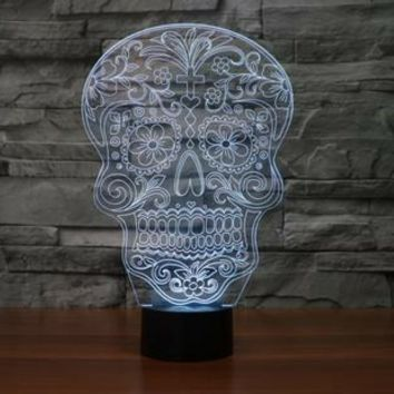 SKULL 3D Lamp 8 Changeable Color  [FREE SHIPPING]