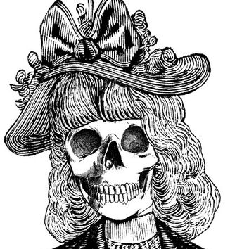 skull lady with fancy hat png graphics skeleton clip art image digital art download wall art printables goth horror day of the dead