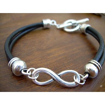 Black Leather Infinity Bracelet, Mens Jewelry, Mens Bracelet, Womens Bracelet, Womens Jewelry, Anniversary Gift, Mens Gift, Womens Gift,