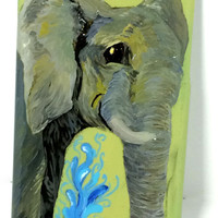 Hand Painted Elephant iPhone 6 Case - Hand Made iPhone Plastic Case - Acrylic Happy Elephant iPhone 6 Case - Artistic Painted iPhone Case