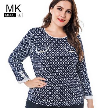 Miaoke Plus Size Long Sleeve T Shirts 2018 Autumn Clothing For Women Fashion Vintage Print  Graphic Tees Oversized Tops