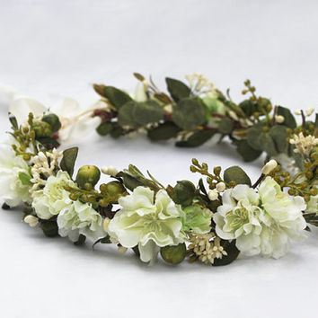 Woodland Meadow Bridal Headpiece - Ivory Flower Crown, Green, Spring Wedding, Bridal Flower Crown, Wedding Crown, Bohemian, Bride, Weddings