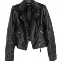 Leather Look Quilted Biker Jacket with Shoulder Epaulettes