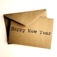 Happy New Year card - Kraft - New Year - Handmade paper goods - Kraft New Year card - Happy New Year - New year's - Paper goods - Brown card