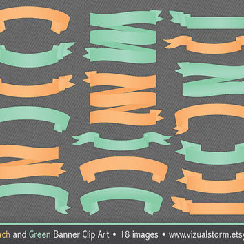 Banner Clip Art, Peach and Mint Green, 18 professionally designed ribbons, weddings, invites and crafts, Buy 2 Get 1 Free, Instant Download