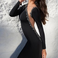 Tarik Ediz 92611 Asymmetrical Long Sleeved Black Prom Dress