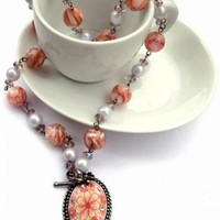 Flower Locket Necklace Pink Shell Beads Peranakan | LittleApples - Jewelry on ArtFire