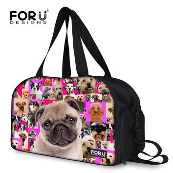 FORUDESIGNS Fashion Women's Travel Bags Animal Pug Dog Print Luggage Bag Women Travel Shoulder Tote Bags Large Capacity Duffle
